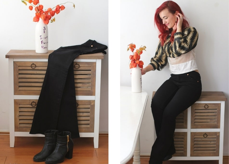 flared black jeans and peasant top boho look